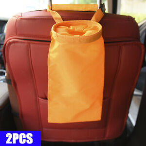 Car Trash Can Dust Bin Storage Bag Organizer Garbage Washable Foldable Orange