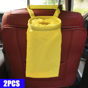 Car Trash Can Dust Bin Storage Bag Organizer Garbage Washable Foldable Yellow