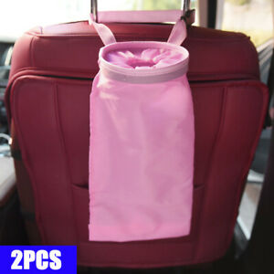 Car Trash Can Dust Bin Storage Bag Organizer Garbage Washable Foldable Pink