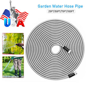 Stainless Steel Garden Hose Pipe Water Pipe Flexible Lightweight 25 50 75 100ft