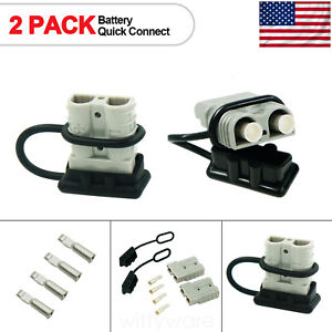 4pcs 12v Battery Quick Connector Disconnect 8awg Plug Winch Trailer Connect 50a
