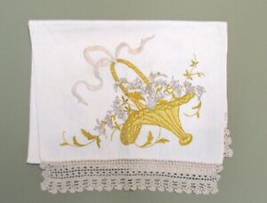53 Long Arts And Craft Linen Runner With Embroidered Design