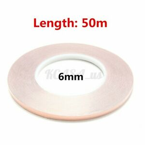50m X 6mm 1roll Copper Foil Shielding Tape Conductive Self Adhesive Barrier Us