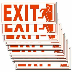 Exit Sign 10 Set X 4 Inch 5 Mil Vinyl Laminated For Ultimate Protection Self Uv
