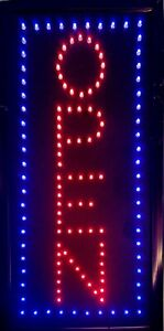 Vertical Led Neon Open Sign By Ultima Led 18x14