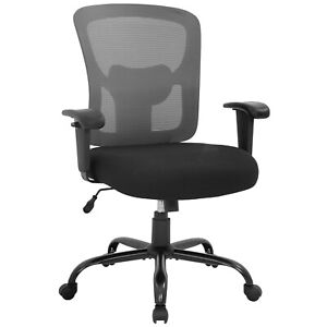 Big And Tall Office Chair 400lbs Wide Seat Mesh Desk Chair Rolling Swivel