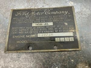 Ford Pickup Big Truck Vin Data Plate 1930s Glovebox Serial Number V8 Rat Rod