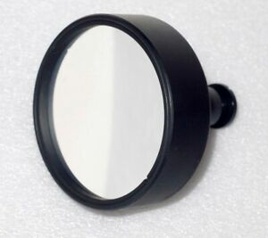 Glass Block Round Parabolic Mirror With Mount From Vintage Spectroscope