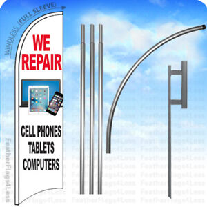 We Repair Cellphone Tablets Computers Windless Swooper Flag Kit 15 Sign Wb