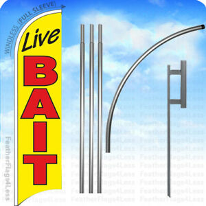 Live Bait Windless Swooper Flag Kit 15 Feather Banner Sign Yb