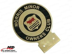 Vintage Morris Minor Owners Car Club Heavy Brass Enamel Front Grill Badge Decal