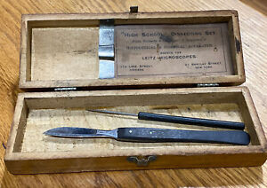 2 2 Vtg Leitz Microscopic Co Dissecting Kit Case High School Use Chicago Il