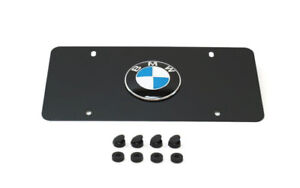 Genuine Bmw Marque Plate Frame With Emblem Black Stainless Steel 82121470313 New