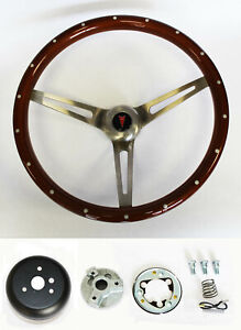 1964 1965 1966 Pontiac Gto Wood Steering Wheel 15 High Gloss Grip With Rivets