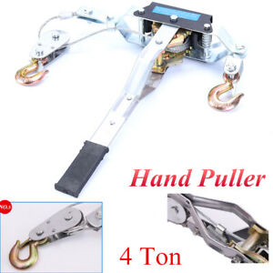 Heavy Duty Hand Power Cable Puller 4t Rachet 2 Hooks Come Along Winch Cable Tool