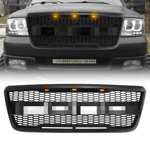 Raptor Style Front Mesh Bumper Grill W 3 Amber Led Lights For 04 08 Ford F 150