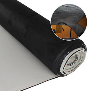 Black 60 x54 Suede Headliner Material Replacement Fabric Upholstery Backed Foam