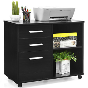 3 drawer File Cabinet Storage Organizer Mobile Lateral Printer Stand Office Work