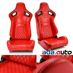 2x Universal Red Pvc Leather Sport Racing Bucket Seats W Sliders Left Right Pair