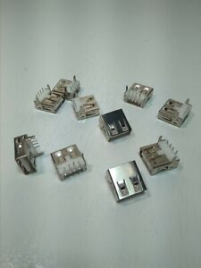 10pcs Usb 2 0 Type A Female Socket Connector Port 4 pin Right Angle Adapter