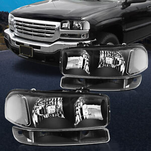4pcs Black For 99 07 Gmc Sierra Headlights Bumper Light Headlamps Assembly Kit
