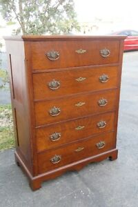 1800s Tiger Oak Tall Chest Of Drawers 1837