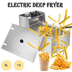 Electric Deep Fryer Single Dual Tank 6 3qt 6l 12l Commercial Countertop Basket