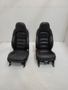 05 06 Chevy Corvette Lh Driver Front Rh Right Bucket Seats Leather Black