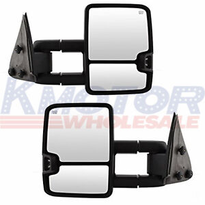 Towing Mirrors Power Heated Led Signals Pair For Chevy Silverado Sierra 2003 06