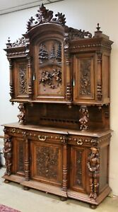 Super Antique Walnut Carved French Sideboard Buffet Bar Cabinet