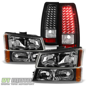 Black 2003 2006 Chevy Silverado 1500 2500 3500 Headlights Led Tail Lights Lamps