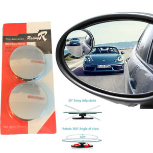 2pack 360 Hd Round Blind Spot Mirror Glass Frameless Convex Rear View Mirror