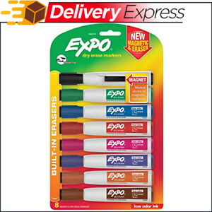 Expo Magnetic Dry Erase Markers With Eraser Chisel Tip Assorted Colors 8 count