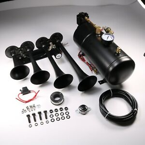 Train Horn Kit Loud System 4 Trumpets 1g Air Tank 150psi For Car Truck Pickup