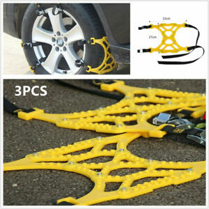 3x Car Tire Anti Skid Mud Snow Chains Thickened Beef Tendon For Wheel 165 275mm