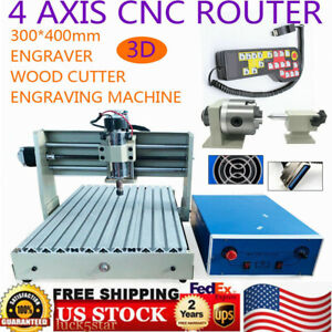 4 Axis Cnc 3040 Router Engraver Engraving Drilling Milling Machine 400w Remote