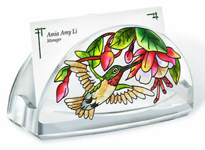 Cascading Fuchsia Business Card Holder Pink Flowers Green Leaves Acrylic New