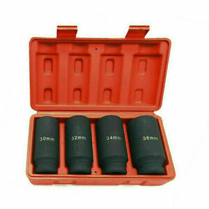 4pc 1 2 Dr Deep Spindle Axle Nut Socket Set 6 Point Metric 30mm 32mm 34mm 36mm