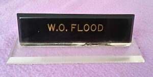 Vintage Desk Nameplate Acrylic Office Flood Clear Black 8 Inches