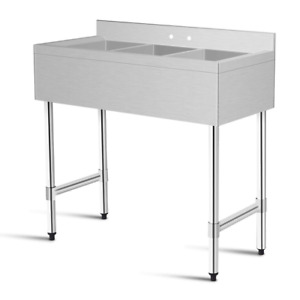 Stainless Steel Top Kitchen Commercial Sink W 3 Large Compartments Heavy Duty