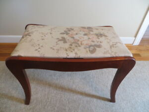 Vintage Antique Wood Upholstered Piano Vanity Bench Stool Art Deco