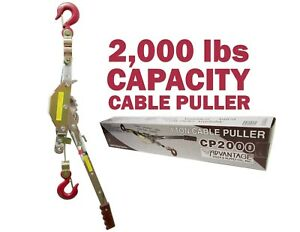2000 Lb Cable Puller Come Along 1 Ton 360 Swivel Hook Forged Heavy Duty Latch