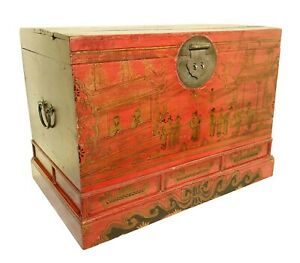 Antique Chinese Hand Painted Trunk 3416 Red Lacquer Circa 1800 1849