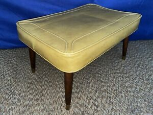 Vtg Stitched Gold Vinyl Ottoman Foot Stool Mcm Wood Taper Pencil Legs