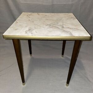 Vtg Mid Century Side End Table Mcm Marble Formica Gold Trim Tapered Legs