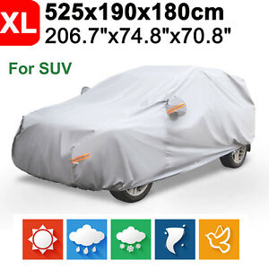 Xl Gray Suv Full Car Cover Waterproof Outdoor Rain Dust Uv Resistant Protection