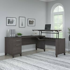 Bush Furniture Somerset 72w 3 Position Sit To Stand L Shaped Desk In Storm Gray