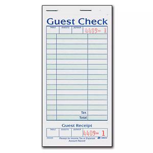 Adams 1 part Guest Check With Stub 50 Checks book 20 Pk