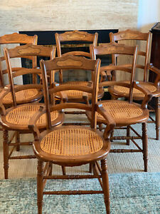 Antique Walnut Burled Cane Seat Dining Chairs Set Of 6