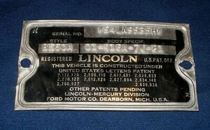 54 1954 Lincoln Capri Coupe Cowl Data Body Plate Trim Code Tag